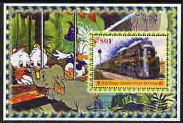 Congo 2005 Steam Locos #01 perf s/sheet with Disney characters in background cto used