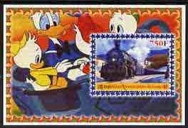 Congo 2005 Steam Locos #03 perf s/sheet with Disney characters in background cto used
