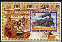 Congo 2005 Steam Locos #04 perf s/sheet with Disney characters in background cto used