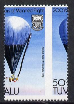 Tuvalu 1983 Manned Flight 50c (Double Eagle II Balloon) with superb 9mm shift of vert perfs unmounted mint, as SG 225