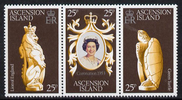 Ascension 1978 Coronation 25th Anniversary strip of 3 (QEII, Turtle & Lion) SG 233-5 unmounted mint, stamps on turtles, stamps on cats, stamps on royalty, stamps on reptiles, stamps on coronation, stamps on arms, stamps on heraldry