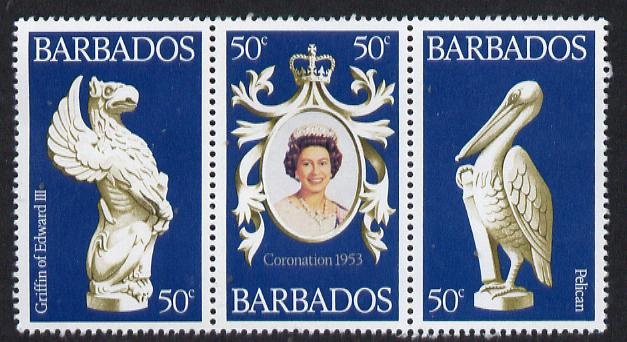 Barbados 1978 Coronation 25th Anniversary strip of 3 (QEII & Pelican) unmounted mint SG 597-9