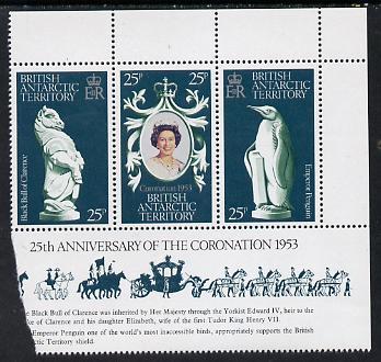British Antarctic Territory 1978 Coronation 25th Anniversary strip of 3 (QEII, Bull & Penguin) unmounted mint, SG 86-8