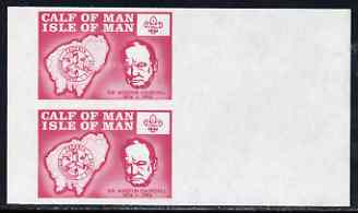 Calf of Man 1973 Churchill & Map (with Scout Logo) set of 2 in se-tenant block of 4 with rouletting & blue colour omitted, unmounted mint (as Rosen CA249-50) complete she...