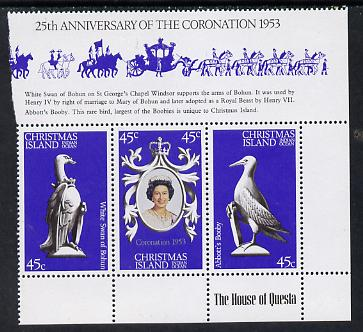 Christmas Island 1978 Coronation 25th Anniversary strip of 3 (QEII, Swan & Booby) unmounted mint SG 96-8
