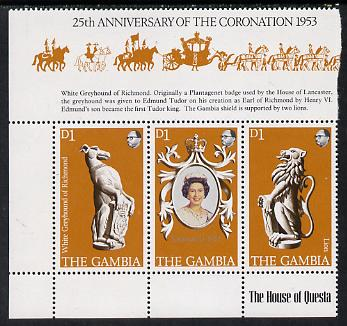 Gambia 1978 Coronation 25th Anniversary strip of 3 (QEII, Lion & Greyhound) SG 397-99 unmounted mint