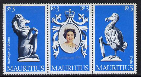 Mauritius 1978 Coronation 25th Anniversary strip of 3 (QEII, Antelope & Dodo) unmounted mint, SG 549-51