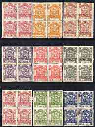 North Borneo 1888-92 Arms set of 9 values to 10c in blocks of 4, unmounted mint but probably forgeries, as SG 36-44