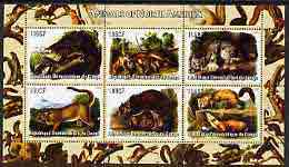 Congo 2005 Audubon Animals of North America perf sheetlet containing 6 values unmounted mint