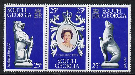 Falkland Islands Dependencies - South Georgia 1978 Coronation 25th Anniversary strip of 3 (QEII, Seal & Panther) unmounted mint, SG 67-69
