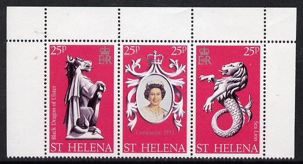 St Helena 1978 Coronation 25th Anniversary strip of 3 (QEII, Dragon & Sea Lion) SG 338-40 unmounted mint