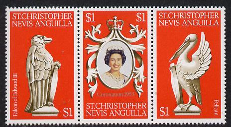 St Kitts-Nevis 1978 Coronation 25th Anniversary strip of 3 (QEII, Falcon & Pelican) unmounted mint SG 389-91