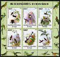 Congo 2005 Humming Birds by John Gould perf sheetlet containing 6 values unmounted mint