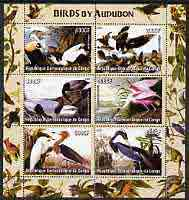 Congo 2005 Birds by Audubon perf sheetlet containing 6 values unmounted mint