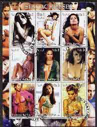 Eritrea 2002 Sexy Actresses perf sheetlet containing 9 values (Cameron Diaz, Halle Berry, Liv Tyler, etc) fine cto used, stamps on personalities, stamps on entertainments, stamps on films, stamps on cinema, stamps on women