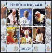 Mauritania 2003 Pope John Paul II perf sheetlet containing 6 values fine cto used