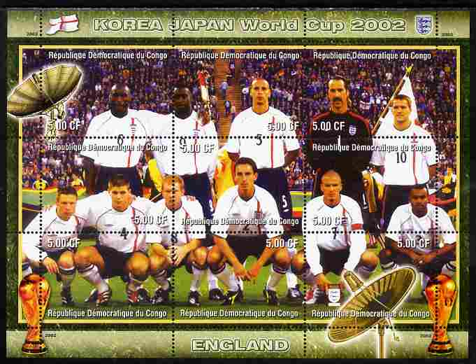 Congo 2002 Korea Japan World Cup Football Teams - England perf composite sheetlet containing 9 values unmounted mint. Note this item is privately produced and is offered ...