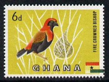 Ghana 1959-61 Red Crowned Bishop Bird 6d with green from flag misplaced 2mm to right unmounted mint, SG 220var