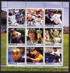 Angola 2002 Sports (Baseball, Golf & Table Tennis) perf sheetlet containing 9 values fine cto used