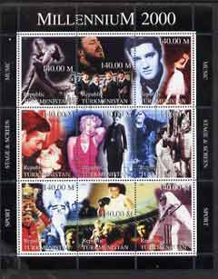 Turkmenistan 1999 Millennium Personalities (Films & Sport) perf sheetlet containing set of 9 fine cto used (Fred & Ginger, Pavarotti, Elvis, Beatles, Marilyn, Chaplin, Al...