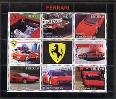 Turkmenistan 1999 Ferrari perf sheetlet containing set of 8 values plus label fine cto used