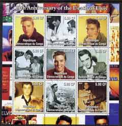 Congo 2002 25th Death Anniversary of Elvis Presley #1 perf sheetlet containing 9 values fine cto used