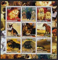 Somaliland 2002 Dogs perf sheetlet containing 9 values fine cto used