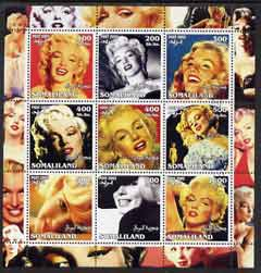 Somaliland 2002 Marilyn Monroe #1 perf sheetlet containing 9 values fine cto used