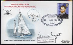 Great Britain 1974 British Army Round the World Yacht race cover carried on board 'British Soldier' during stage 4 (Rio to Portsmouth) bearing Great Britain Explorers 5p with special cancel and signed by the Skipper Lt Col James Myatt