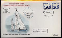 Brazil 1974 British Army Round the World Yacht race cover carried on board 'British Soldier' during stage 3 (Sydney to Rio) bearing 2 x Brazil 20c stamps with Brazil cds cancel