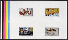 Upper Volta 1980 Lake Placid Winter Olympics imperf master proof containing set of 4 on gummed paper showing solid colour bars, rare