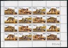 Nigeria 2003 WWF - Side-Striped Jackal perf sheetlet of 16 containing 4 se-tenant blocks of 4 unmounted mint