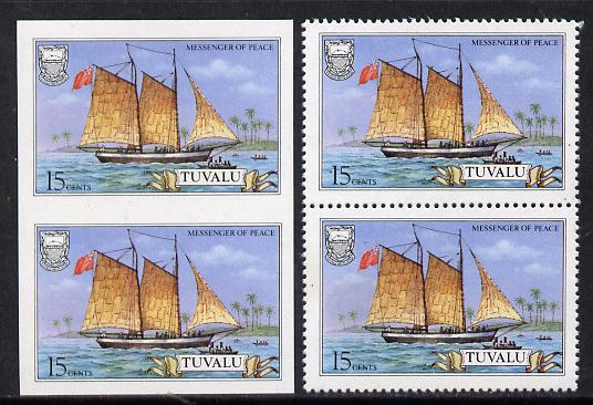 Tuvalu 1986 Ships #3 Schooner Messenger of Peace 15c imperf pair plus normal pair (as SG 377)