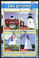 Chad 2003 Lighthouses #3 perf sheetlet containing 4 values fine cto used, stamps on lighthouses