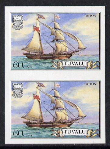 Tuvalu 1986 Ships #3 Brigantine Triton 60c imperf pair (as SG 380), stamps on ships