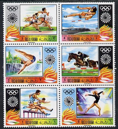 Ras Al Khaima 1970 Munich Olympics perf set of 6 unmounted mint, Mi 384-89A