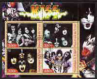 Chad 2003 Legendary Pop Groups - Kiss perf sheetlet containing 4 values fine cto used