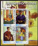 Ivory Coast 2003 Art of the Impressionists - Paintings by Van Gogh perf sheetlet containing 4 values  fine cto used