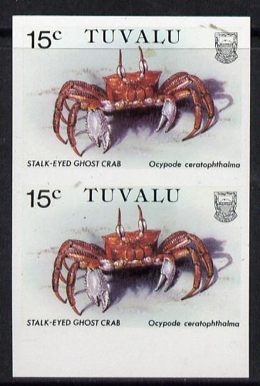 Tuvalu 1986 Crabs 15c (Ghost Crab) imperf pair unmounted mint, as SG 372