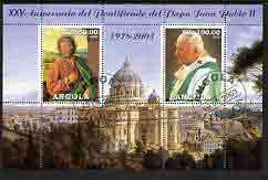 Angola 2003 Pope John Paul II - 25th Anniversary of Pontificate perf sheetlet containing 2 values fine cto used