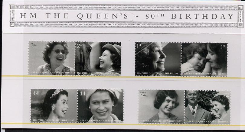 Great Britain 2006 80th Birthday of HM Queen Elizabeth II perf set of 8 (4 se-tenant pairs) in official presentation pack unmounted mint SG 2620-27