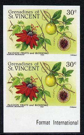 St Vincent - Grenadines 1985 Fruits & Blossoms 30c (Passion Fruit) imperf pair unmounted mint, as SG 398