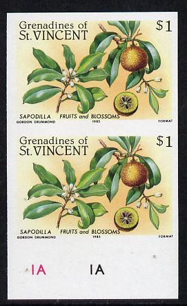 St Vincent - Grenadines 1985 Fruits & Blossoms $1 (Sapodilla) imperf pair unmounted mint (as SG 400)