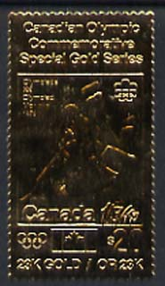 Canada 1975 Montreal Olympic Games (8th issue) $20 perf embossed in 23k gold foil showing Judo (similar to SG 816) unmounted mint