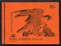 Booklet - Great Britain 1968-70 Birds - Perigrine Falcon (red cover Aug 1968) 6s booklet complete and fine, SG QP40