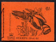 Booklet - Great Britain 1968-70 Birds - Pied Woodpecker (red cover Oct 1968) 6s booklet complete and fine, SG QP42