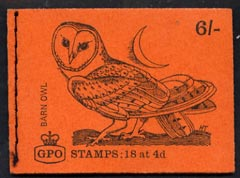 Booklet - Great Britain 1968-70 Birds - Barn Owl (red cover Jan 1969) 6s booklet complete and fine, SG QP45