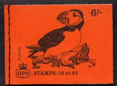 Booklet - Great Britain 1968-70 Birds - Puffin (red cover July 1969) 6s booklet complete and fine, SG QP49