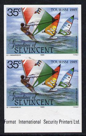 St Vincent - Grenadines 1985 Tourism Watersports 35c (Windsurfing) imperf pair unmounted mint (SG 386var)