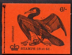 Booklet - Great Britain 1968-70 Birds - Cormorant (red cover Jan 1970) 6s booklet complete and fine, SG QP52
